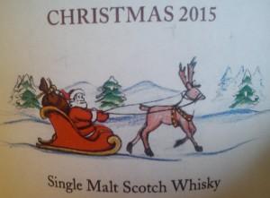Ein Weihnachtsmann im Rentierschlitten ziert das Etikett der MoS Christmas-Abfüllung 2015.